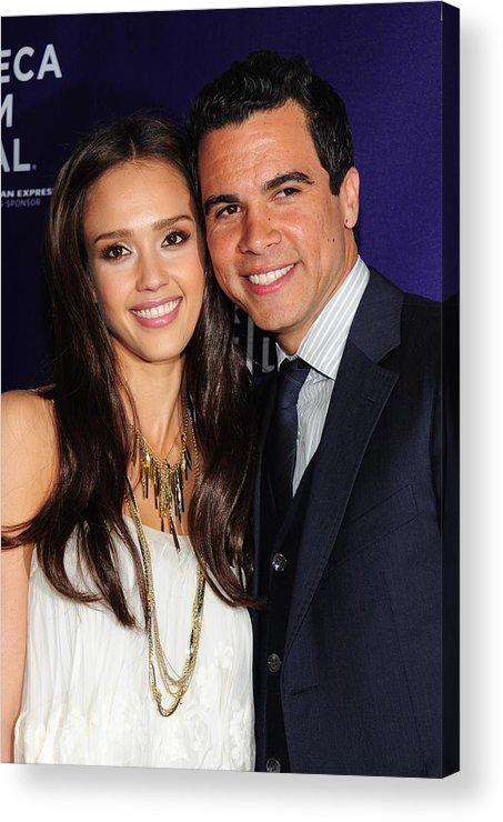 Jessica Alba Acrylic Print featuring the photograph Jessica Alba, Cash Warren At Arrivals by Everett