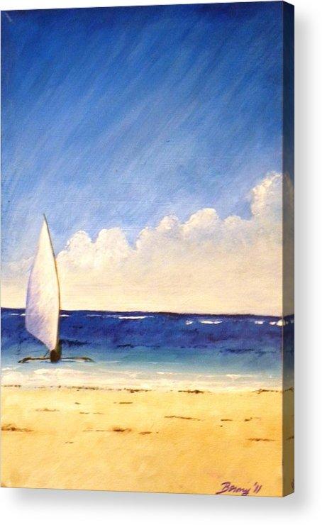 Beach Acrylic Print featuring the painting Sail On The Sea by Anina von Wachtel Diani Beach Art Gallery
