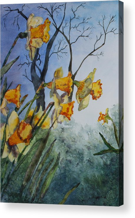 Floral Acrylic Print featuring the painting Welcome Springtime by Patsy Sharpe