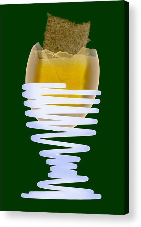Egg Acrylic Print featuring the photograph Boiled Egg In An Eggcup, X-ray by D. Roberts