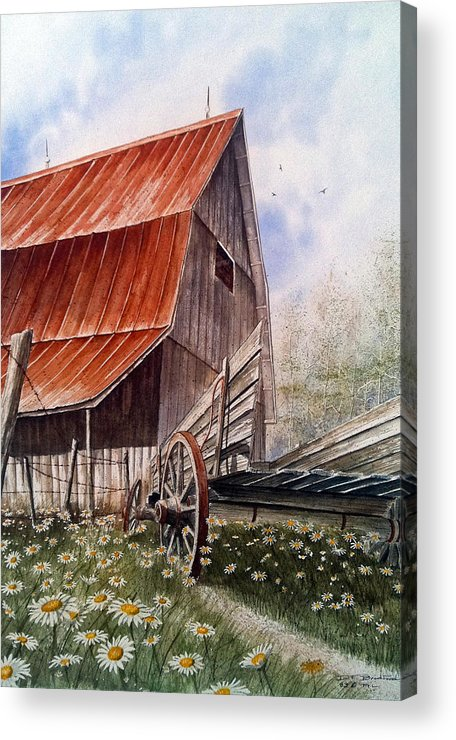 Barn Acrylic Print featuring the painting A Time For Daiseys by Don F Bradford
