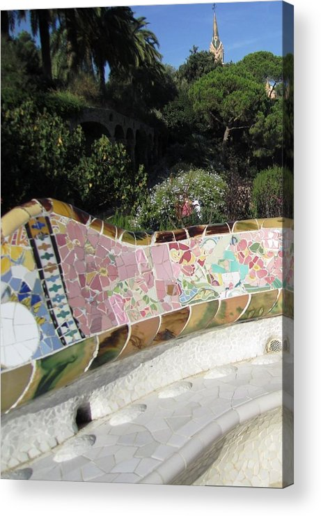 Parc Guell Acrylic Print featuring the photograph Antoni Gaudi Park Guell Tile Mosaic Bench Barcelona Spain by John Shiron