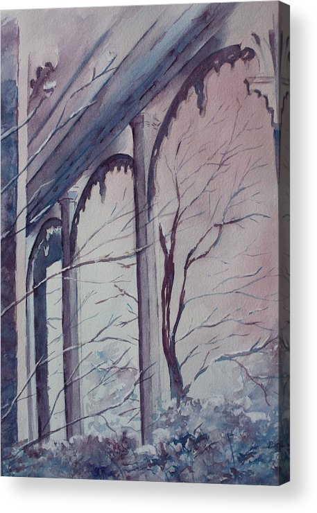 Snow Scene Acrylic Print featuring the painting Blue Snow by Patsy Sharpe