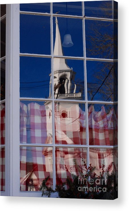 First Congregational Church Acrylic Print featuring the photograph Church In Cafe Window by Andrea Simon
