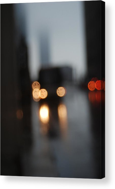 Saturday Acrylic Print featuring the photograph City Headlights On A Dark Stormy Blurred Street by Jennifer Holcombe