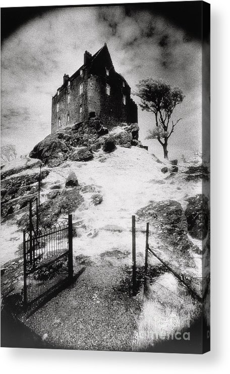 Duntrune; Architecture; Ruin; Ghostly; Eerie; Bleak; Hill; Haunted House Acrylic Print featuring the photograph Duntroon Castle by Simon Marsden