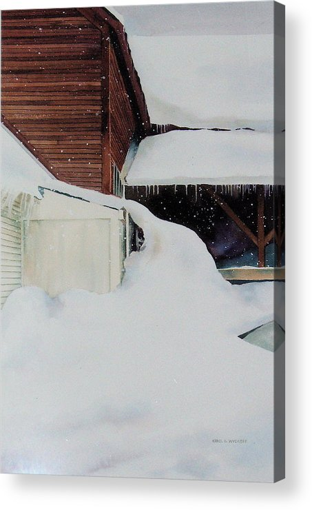 Barn Acrylic Print featuring the painting Icicles by Karol Wyckoff