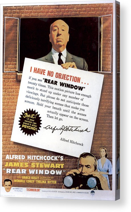 1950s Movies Acrylic Print featuring the photograph Rear Window, Alfred Hitchcock, James by Everett