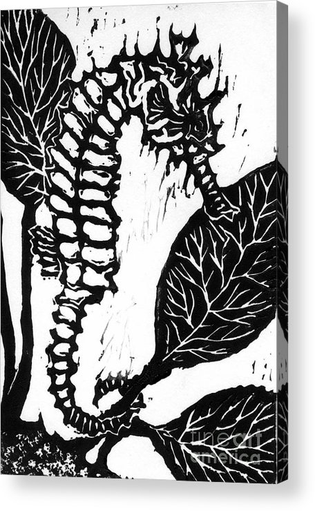 Lino Acrylic Print featuring the mixed media Seahorse Block Print by Ellen Miffitt
