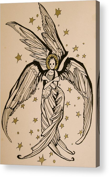 Seraphim Angel Acrylic Print featuring the drawing Seraphim by Jackie Rock
