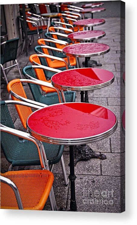 Cafe Acrylic Print featuring the photograph Sidewalk Cafe In Paris by Elena Elisseeva
