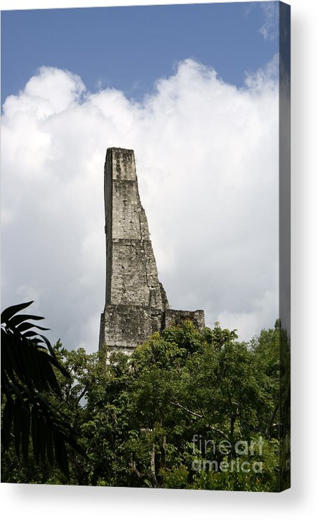 Guatemala Acrylic Print featuring the photograph Temple Iv Roofcomb Tikal Guatemala by John Mitchell