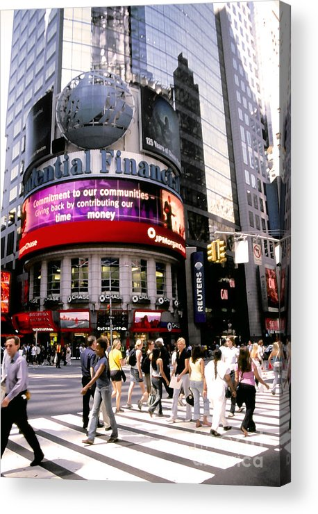 Nyc Acrylic Print featuring the photograph Times Square Corner by Linda Parker