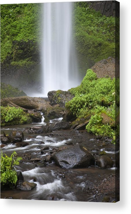 Gorge Acrylic Print featuring the photograph Waterfall In Gorge - Columbia River Gorge by John Gregg