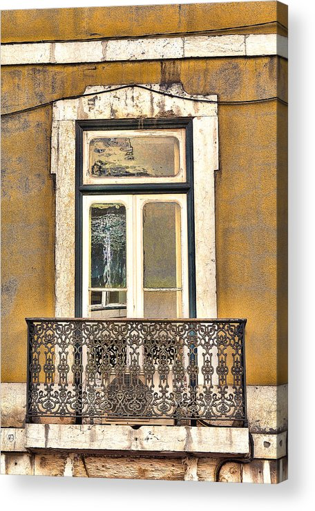 Lisbon Acrylic Print featuring the photograph Yellow Facade And Window by Nathan Mccreery