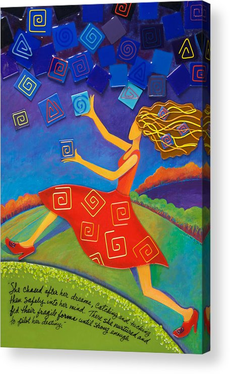 Whimsical Acrylic Print featuring the mixed media Dream Pilot by Anne Nye
