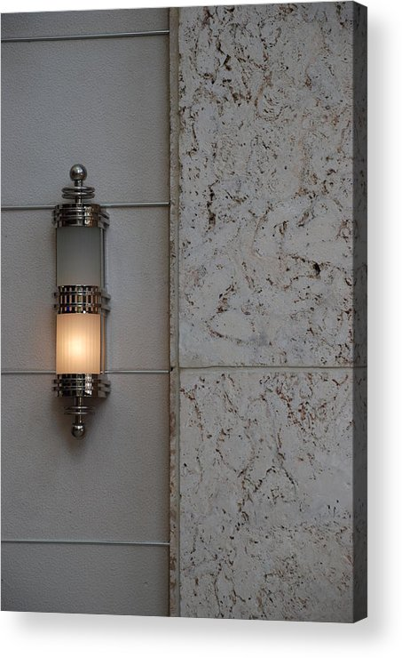 Sconce Acrylic Print featuring the photograph Half Lit Wall Sconce by Rob Hans