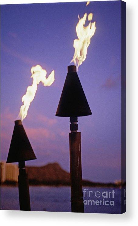 Burn Acrylic Print featuring the photograph Waikiki, Tiki Torches by Carl Shaneff - Printscapes
