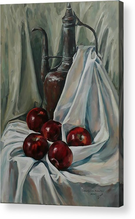 Still Life Acrylic Print featuring the painting Jug With Apples by Natalia Shtainfeld-Borovkov