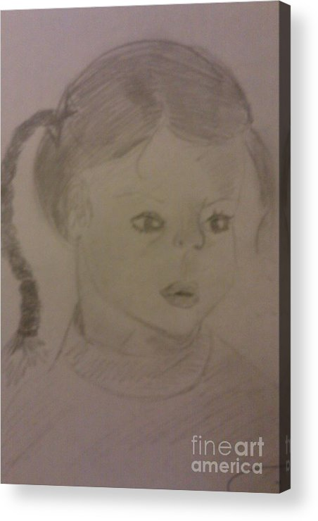 People/children Acrylic Print featuring the drawing A Little Girl by Charita Padilla