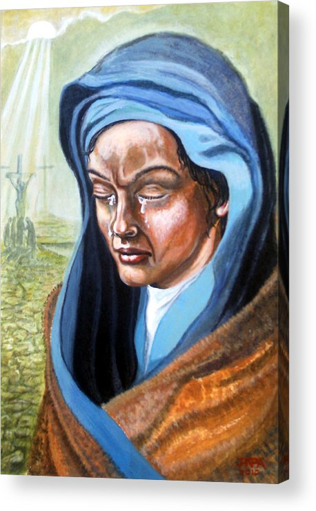 Landscape Acrylic Print featuring the painting A Mothers Tears by James Richardson