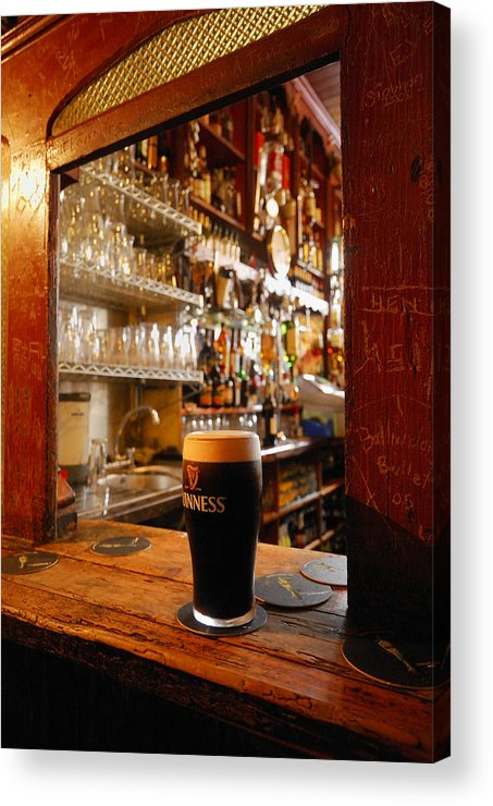 Day Acrylic Print featuring the photograph A Pint Of Dark Beer Sits In A Pub by Jim Richardson