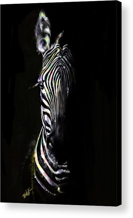 Zebras Acrylic Print featuring the painting Zebra Fade Into Light by Mark Tonelli