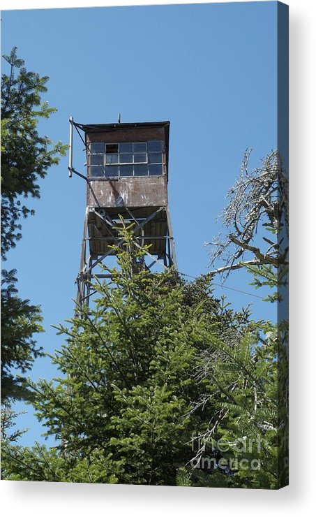 Firetower Acrylic Print featuring the photograph Appalachian Trail - Smarts Mountain New Hampshire Usa by Erin Paul Donovan