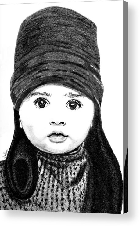 Portrait Acrylic Print featuring the drawing Baby Its Cold Outside by Donna Proctor
