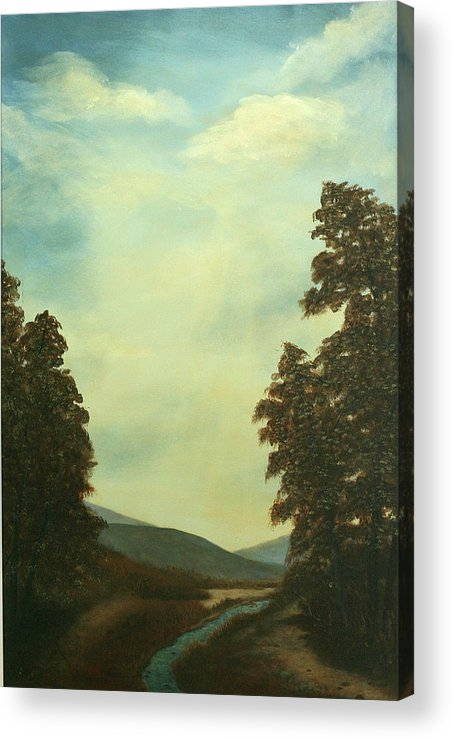Original Pastoral Landscape Acrylic Large Constable Like Acrylic Print featuring the painting Back In Time by Sharon Steinhaus