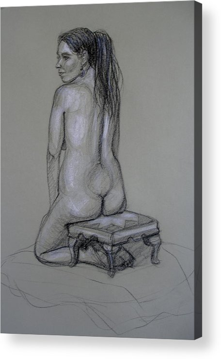 Realism Acrylic Print featuring the drawing Back Nude 1 by Donelli DiMaria
