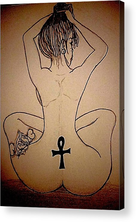 Acrylic Print featuring the drawing Badu Peaceful by Terrell Dickerson