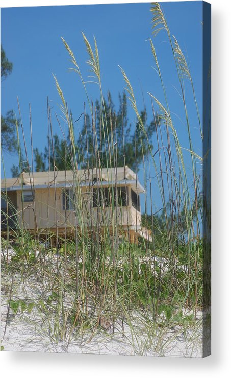 Landscape Acrylic Print featuring the photograph Beach House Through Sea Oats by Lisa Gabrius