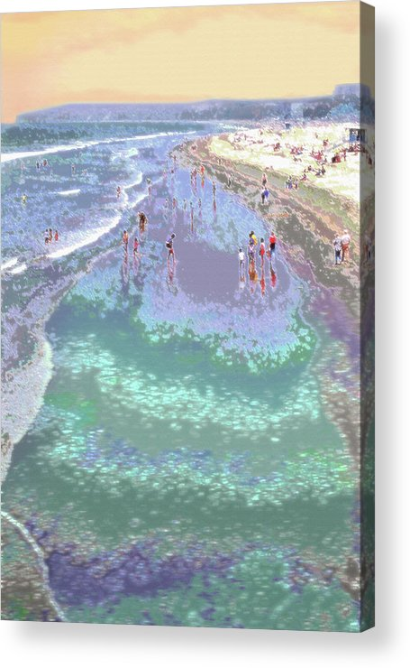 California Acrylic Print featuring the photograph Beachgoers 2 by Steve Ohlsen