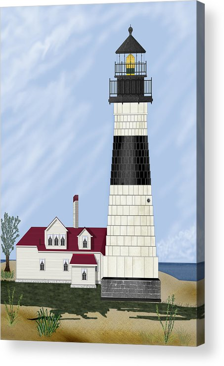 Big Sable Michigan Lighthouse Acrylic Print featuring the painting Big Sable Michigan by Anne Norskog
