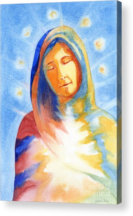 Divine Acrylic Print featuring the mixed media Blessed Mother by Juanita Yoder