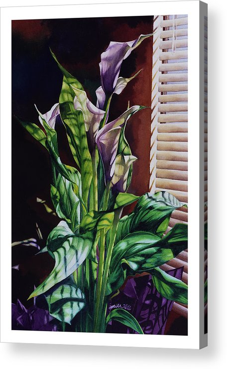 Lilies Flowers Reflected Light Shadows Rust Purple Acrylic Print featuring the painting Blind Luck Lilies by Mike Hill