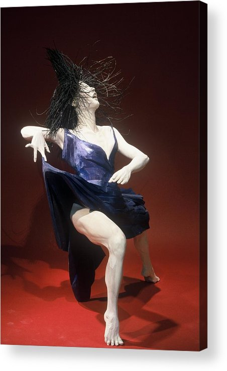 Dance Acrylic Print featuring the sculpture Blue Dancer Right View by Gordon Becker