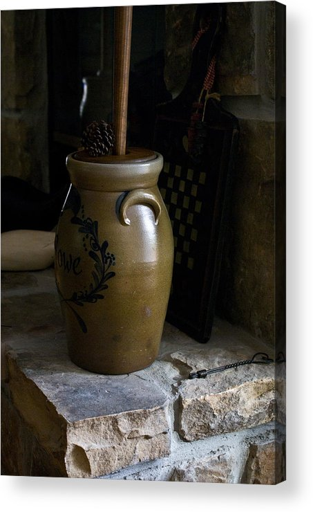 Butter Acrylic Print featuring the photograph Butter Churn On Hearth Still Life by Douglas Barnett