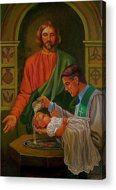 Jesus Baptism Acrylic Print featuring the painting By Grace Alone by Alan Carlson