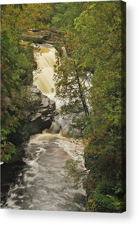 Michigan Acrylic Print featuring the photograph Canyon Falls 2 by Michael Peychich