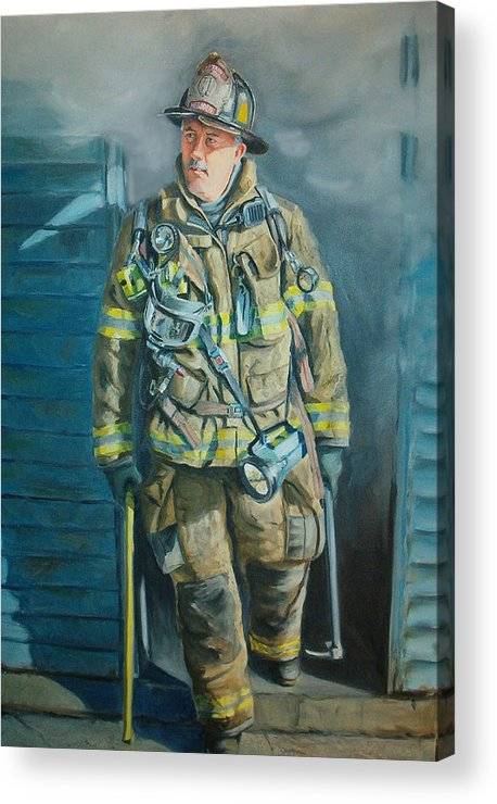 Firefighter Acrylic Print featuring the painting Captain Harris by Paul Walsh