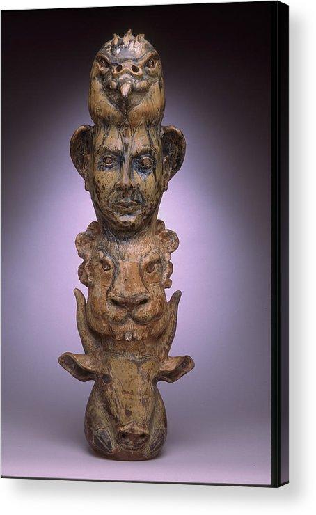 Seraphim Acrylic Print featuring the ceramic art Carved Jar by Stephen Hawks