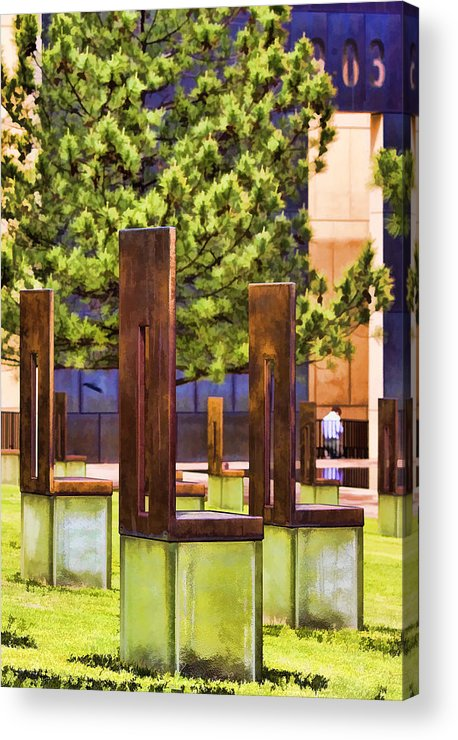 Oklahoma Acrylic Print featuring the photograph Chairs At The Gate by Ricky Barnard