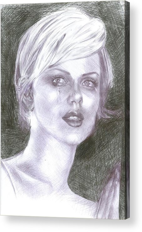 Charlize Theron Acrylic Print featuring the drawing Charlize Theron by Reza Naqvi