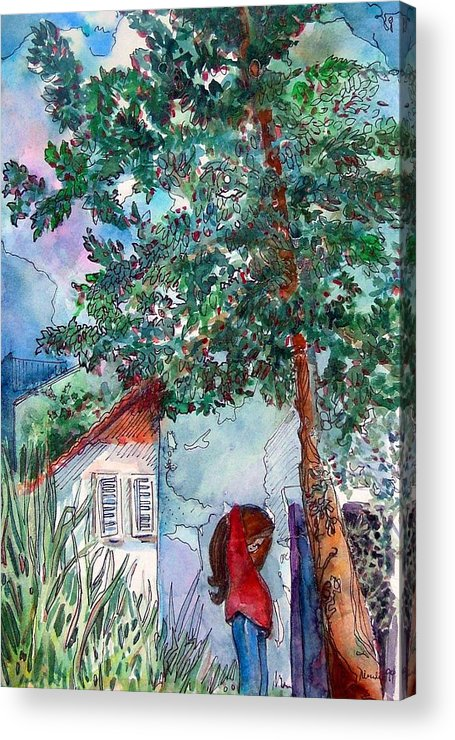 Child Acrylic Print featuring the drawing Child Of Paros by Mindy Newman