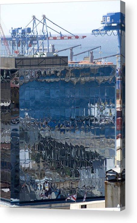 Valparaiso Chile Acrylic Print featuring the photograph Chile Harbor Reflections by Charles Ridgway