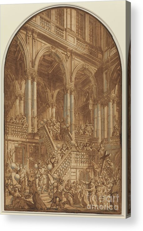 Acrylic Print featuring the drawing Christ Led Captive From A Palace by Giuseppe Galli Bibiena