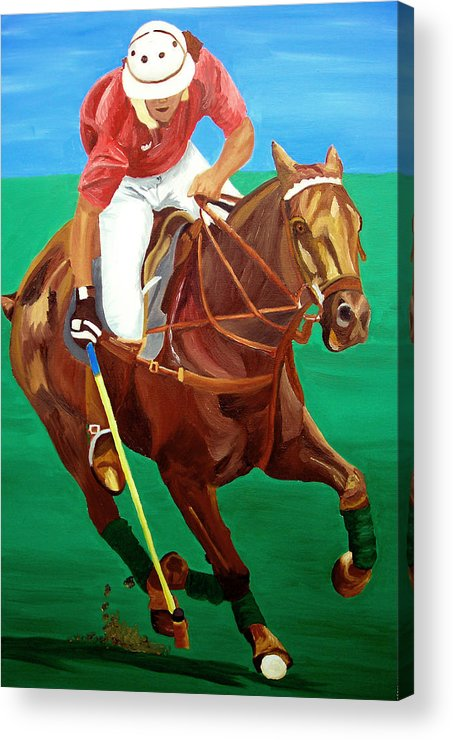 Polo Acrylic Print featuring the painting Chukar by Michael Lee
