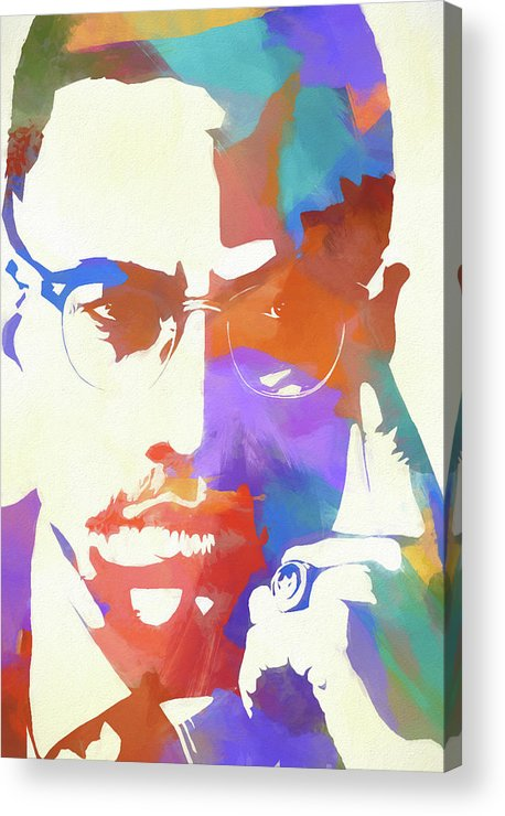 Colorful Malcolm X Acrylic Print featuring the painting Colorful Malcolm X by Dan Sproul